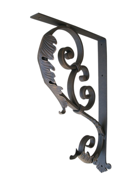 large-decorative-iron-leaf-bracket